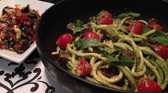 Zucchini pesto spaghetti